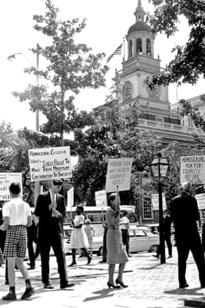 An Independence Day demonstration for gay rights at Independence Hall in Philadelphia on 4 July 1965.
