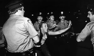 A scene during the 1969 Stonewall riots, as seen in the documentary Stonewall Uprising.