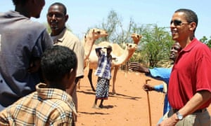 Barack Obama during a to Wajir in Kenya, close to the Ethiopian border, before he was elected US president in 2008.