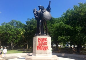 A memorial to Confederate soldiers daubed with the slogan 'Black Lives Matter'