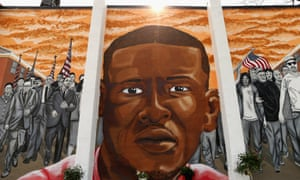 A mural to Freddie Gray near where he was arrested.