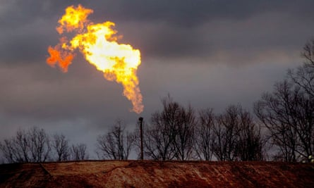 Gas flare at a fracking site.