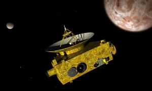 New Horizons spacecraft over dwarf planet Pluto and its moon Charon.