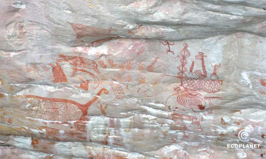 Images of rock art that could be 20,000 years old, found in Chiribiquete national park, Colombia.