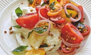 Yotam Ottolenghi's tomato and mozzarella salad with buckwheat and curry leaves