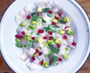 Tess Ward's sea bass ceviche with avocado and pomegranate