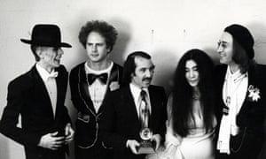 Simon and Garfunkel with David Bowie, Yoko Ono and John Lennon.