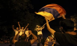 Up on barricades during a rally on 23 June, Armenians show their fury at the decision of the electricity network to increase tariffs by up to 22%