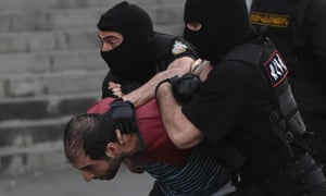 23 Jun 2015, Yerevan, Armenia Police use water cannon as thousands of protesters face-off with riot police on Marshal Bagramian Avenue demanding the reversal of a 16% electricity price hike. Several arrests were made including what appeared to be at least one member of the press. -- Protesters in Yerevan trying to reach the Presidential building as they demanded the reversal of a 16% electricity price hike were stopped by riot police on Marshal Bagramian Avenue. Several arrests were made.
