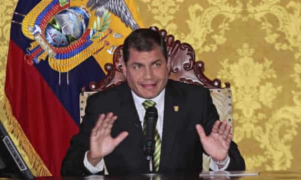 Ecuador's President Rafael Correa announces he authorizes the exploitation of oil in the Yasuni National Park,
