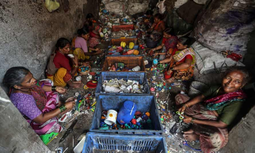 Indian women at a recycling centre in Mumbai, India