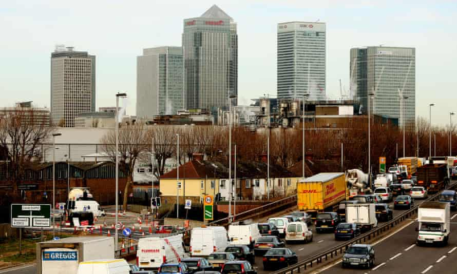 Traffic congestion and a London skyline