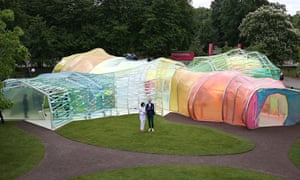 The Serpentine pavilion 2015, with its creators, Lucia Cano and Jose Selgas.