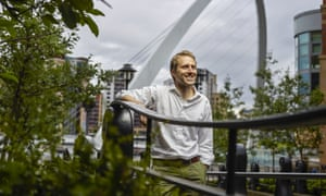 Nick Simpson in Newcastle in front of the Gateshead Millennium Bridge