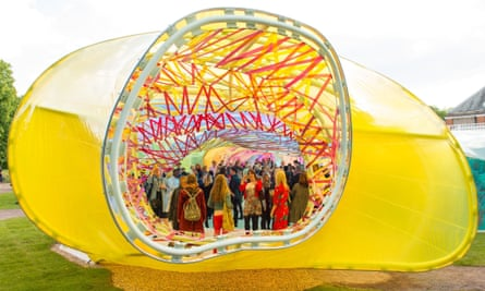 Guests attending a private view of the Serpentine pavilion 2015.