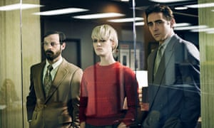 Scoot McNairy as Gordon Clark, Mackenzie Davis as Cameron Howe and Lee Pace as Joe MacMillan in Halt and Catch Fire