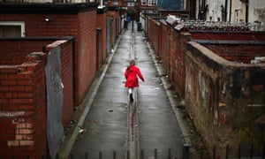 Young girl in an alley in Manchester