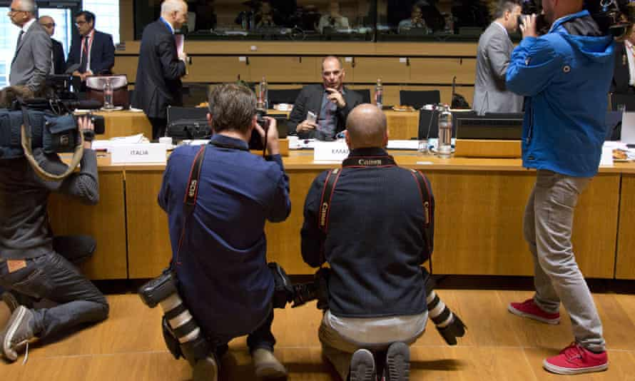 Greek finance minister Yanis Varoufakis, center, during a round table meeting of EU finance ministers at the European council building in Luxembourg.