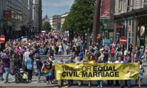 A rally calling for same-sex marriage to be made legal, in Belfast.