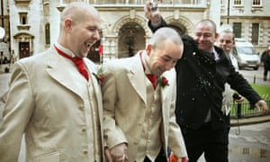 Henry Kane (R) and Christopher Flanagan had a civil ceremony on the same day in 2005 in Belfast. They are also fighting the ban on gay marriage in the region.