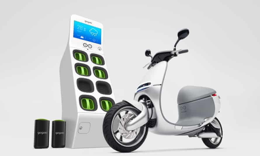 The Gogoro Smartscooter and an ATM-machine sized GoStation for swapping a depleted battery for a full one