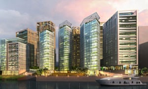 Visualisation of the completed Greenwich Peninsula development, next to London's O2 Arena.
