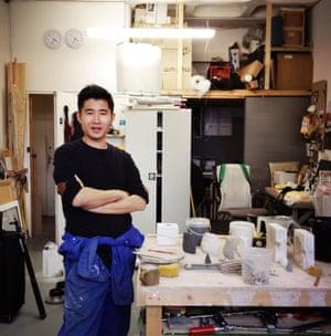 Artist Kentaro Yamada in his Acava-managed studio in Hoxton's Cremer Street.