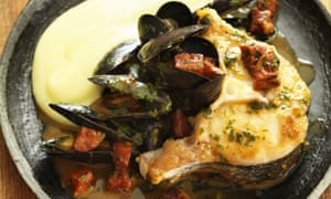 Braised hake with mussels, chorizo & olive oil mash