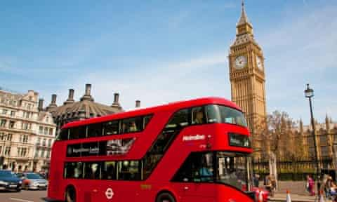 A London bus in front of Big Ben