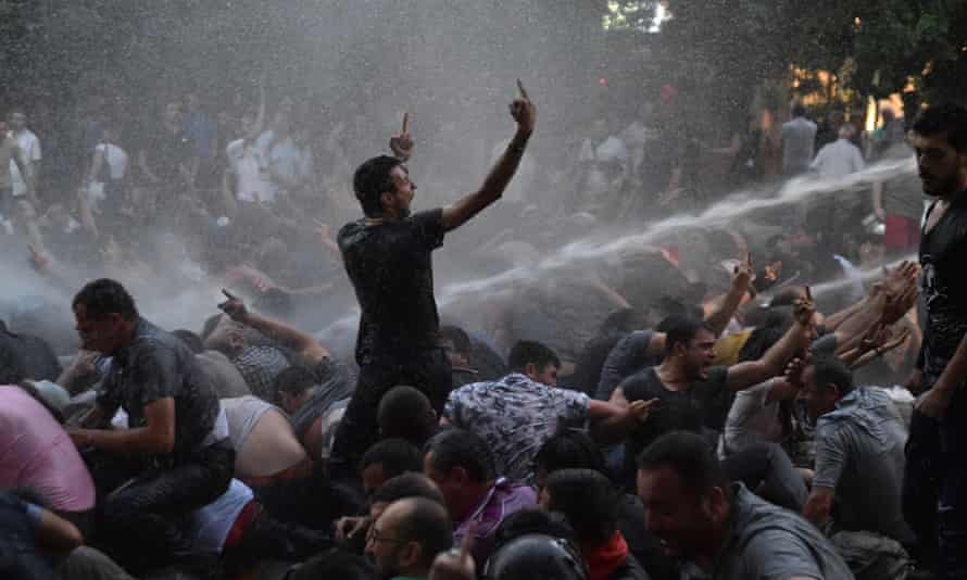 Riot police use water cannon to disperse protesters in Yerevan angry about a 17 to 22% electricity price hike.