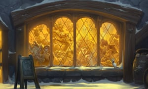 A depiction of a tavern in Hearthstone