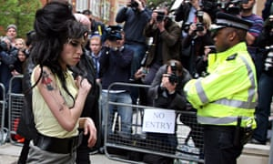 Amy Winehouse arrives at Holborn Police station, London, 2008