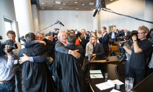 Urgenda 's legal team celebrating after court ruling in The Hague