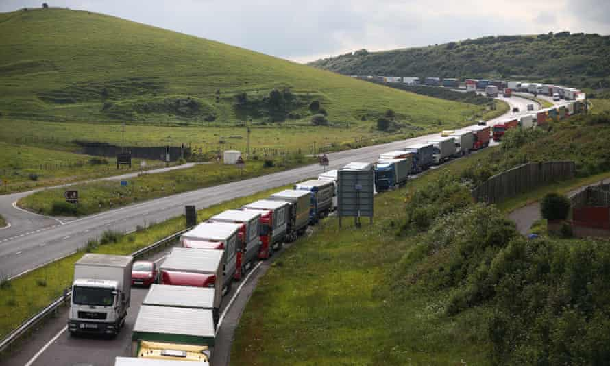 Trucks queue up as part of Operation Stack.