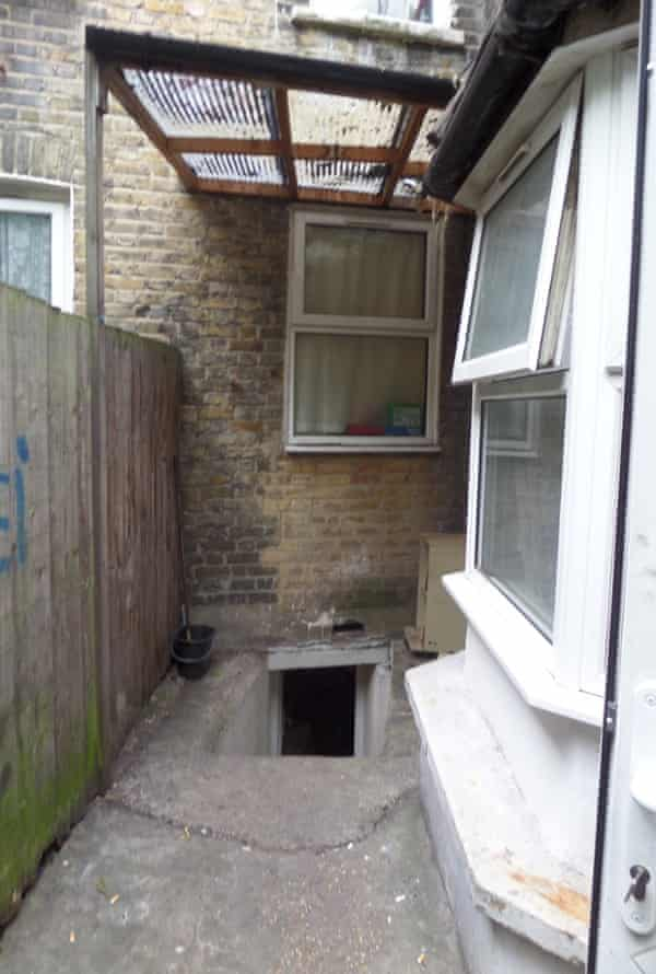 The entrance to the basement from outside