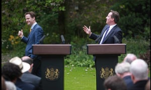 David Cameron and Nick Clegg  in the rose garden of Number 10 Downing Street in 2010.