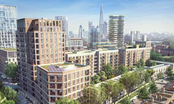 Visualisation of the £1.2bn Elephant Park development, on the site of the old Heygate Estate.