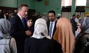 David Cameron at Jamia Masjid mosque in Manchester