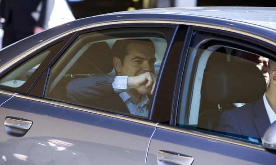 Alexis Tsipras leaving the talks.