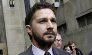 Shia LaBeouf leaves Manhattan Criminal court in New York.