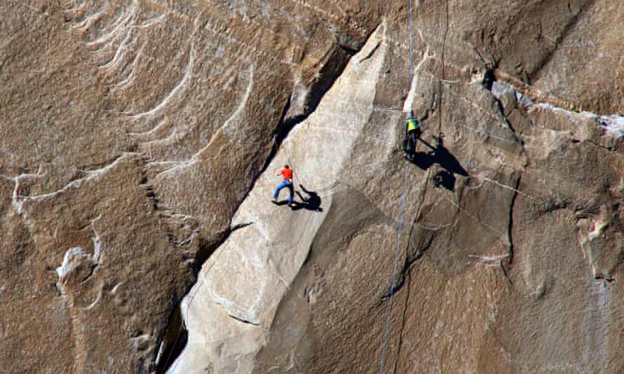 Tommy Caldwell ascends what is known as Pitch 10 on his free climb of El Capitan,  in California's Yosemite national park.
