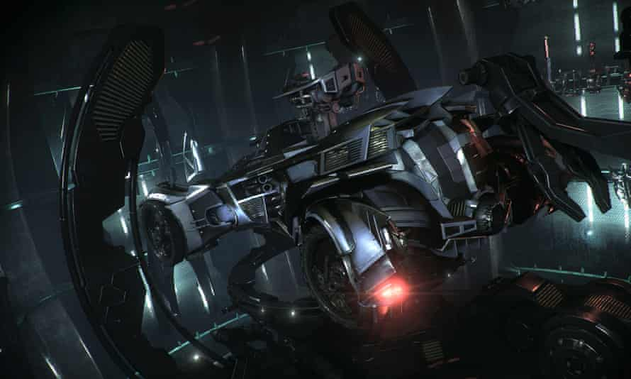 Batman in the batmobile doing batthings in Batman: Arkham Knight.