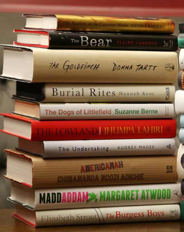 the 2014 Baileys women's prize for fiction 2014 including Donna Tartt's The Goldfinch (third from top).
