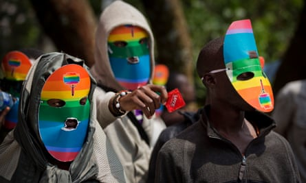 Kenyan gays and lesbians wear masks to preserve their anonymity during a rare protest in 2014.