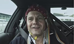 Porsche's ad uses neuroscience imagery to compare its driving experience to flying a jet.