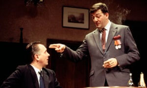 Stephen Fry and Rik Mayall appear in a Richmond Theatre production of 'Cell Mates'in 1995.