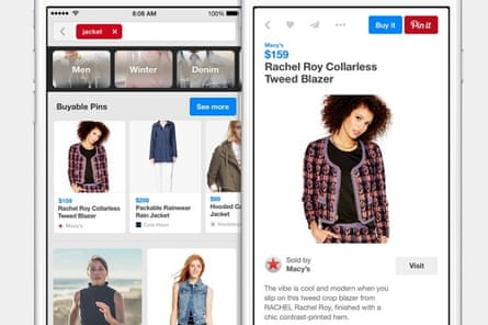 Pinterest's buyable pins feature, which is about to launch in the US.