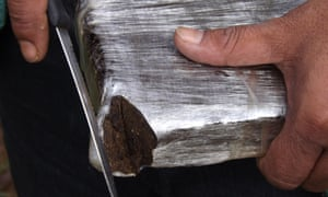 A brick of pressed hashish garnered from a plantation in Pedro Juan Caballero.