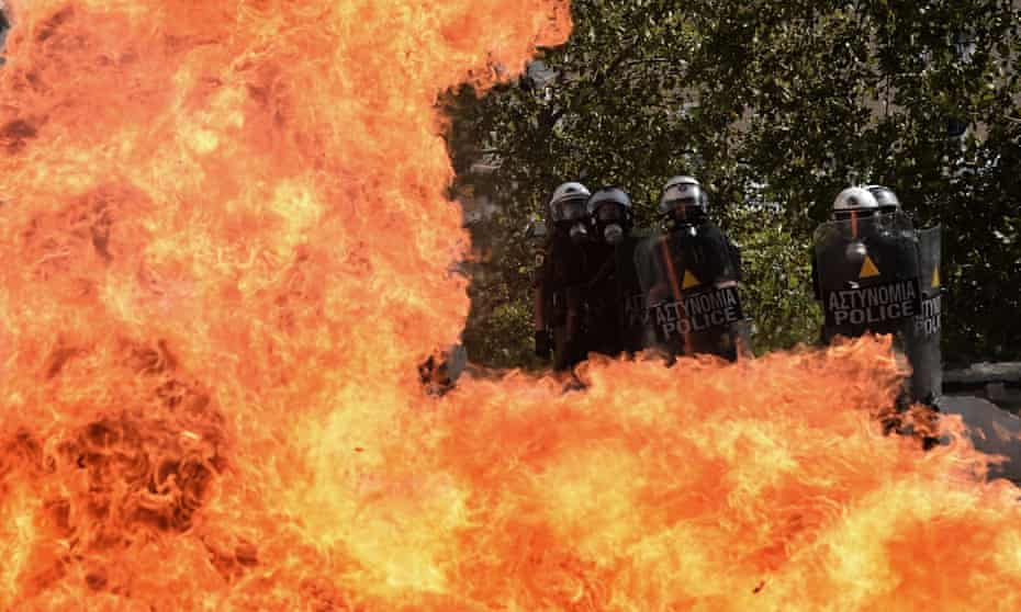 Clashes in Athens demonstrators during a 24-hour strike on 18 October 2012.