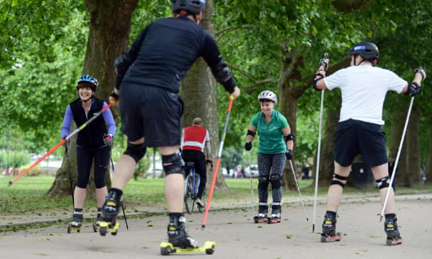 Rachel Dixon (second from right) and fellow learner rollerskiers.